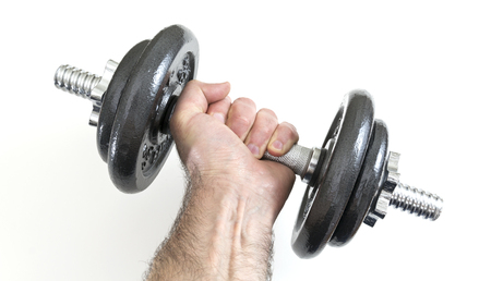 Arm with dumbbells Stock Photo