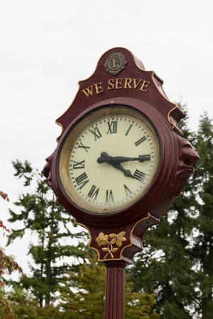 Standing clock in outdoor,Queen Elizabeth Park,Vancouver,British Columbia,Canada. photo