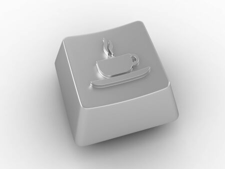 Coffee cup icon on silver keyboard button.