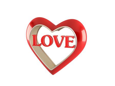 Rotes Herz Mit Liebe Wort Auf Weißem Hintergrund Lizenzfreie Fotos ...