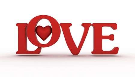 lust: Red heart  with LOVE word on white background Stock Photo