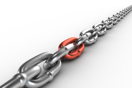 cooper: Chrome chain with a cooper link Stock Photo