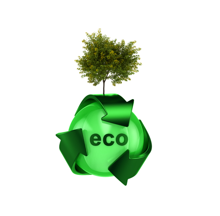 recycle logo: Recycle logo with tree Stock Photo