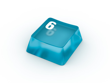 Transparent blue keyboard button with number six