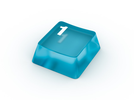 typer: Transparent blue keyboard button with number ONE Stock Photo