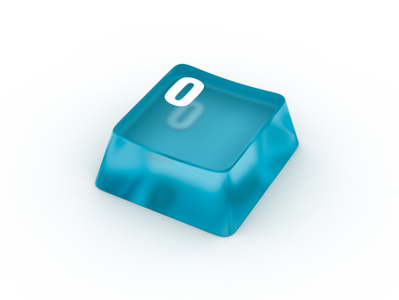 typer: Transparent blue keyboard button with number zero Stock Photo