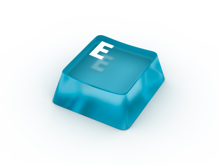 Letter on transparent keyboard button Stock Photo