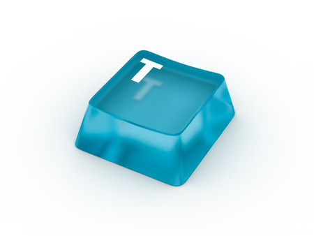 Letter T on transparent keyboard button