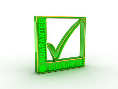 warrant: Check  mark icon in rectangle with GUARANTEE word Stock Photo