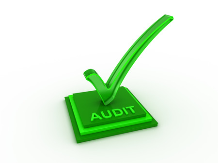 confirmed verification: Check  mark icon on rectangles with AUDIT word Stock Photo