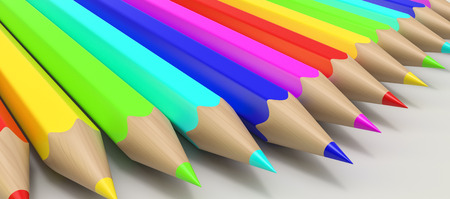 hight: Hight quality 3D render of color pencils. Stock Photo