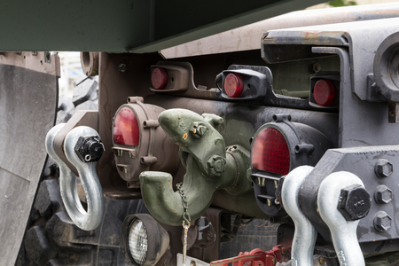 hook up: Military tow truck hook close up image