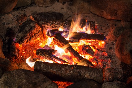 alight: Camp fire in the summer night Stock Photo