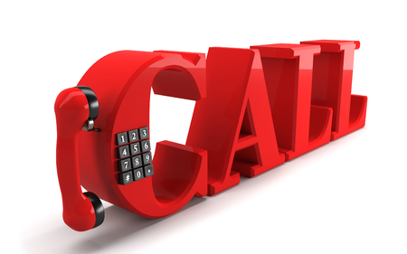 Red CALL word with phone handle,buttons and clipping path. 3D rendering.