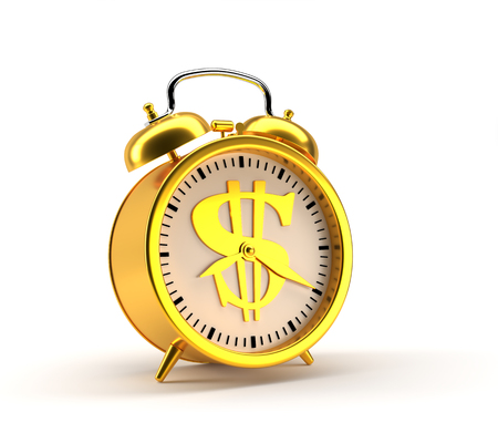 Golden alarm clock with dollar sign and clipping path. Stock Photo