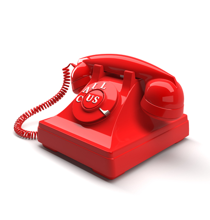Old style phone with call us words. 3D rendering. Stock Photo