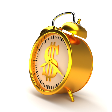 Golden alarm clock. 3D rendering.
