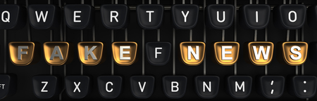 Typewriter with fake news letters on buttons. 3D rendering