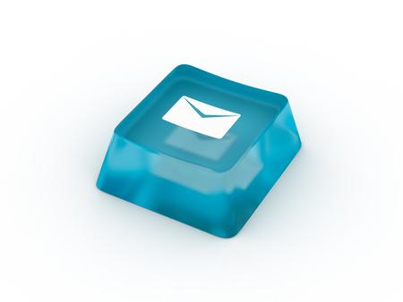 Envelop symbol on keyboard button. 3D rendering