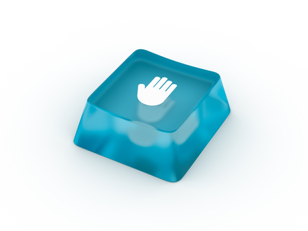 Palm symbol on transparent keyboard button. 3D rendering Stock Photo