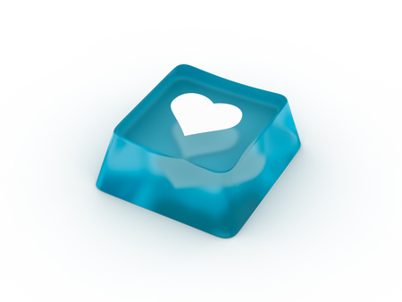Heart symbol on keyboard button. 3D rendering Stock Photo