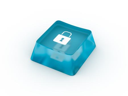 Lock symbol on keyboard button. 3D rendering