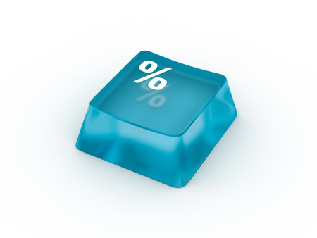Percentage symbol on transparent keyboard button. 3D rendering Stock Photo