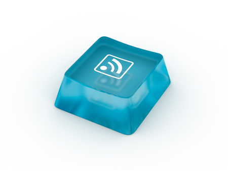 Wifi symbol on keyboard button. 3D rendering