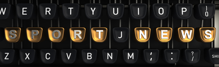 Typewriter with SPORT NEWS letters on buttons. 3D rendering