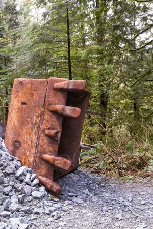 Rusty excavator bucket Stock Photo