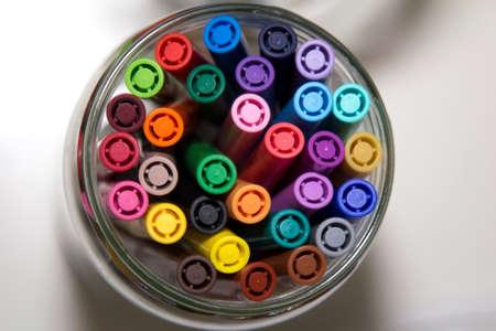 organise: Felt pens in jar, Top view