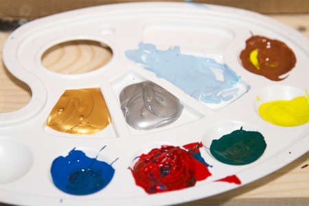 Palette with colours Stock Photo