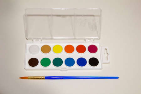 Water color paints and brush