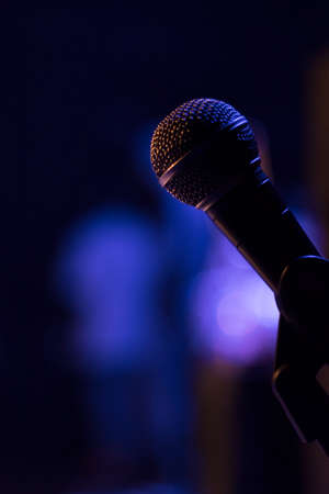 Macro Microphone On Stage Magenta Blue