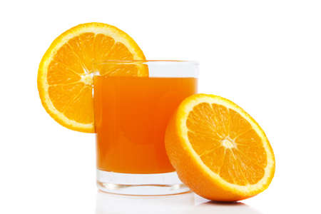 orange juice with oranges isolated on white photo