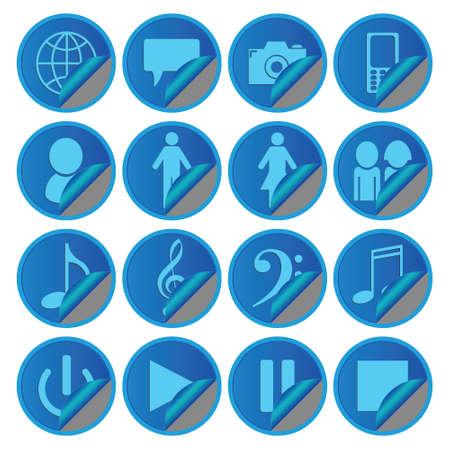Blue Media Social Icons Иллюстрация