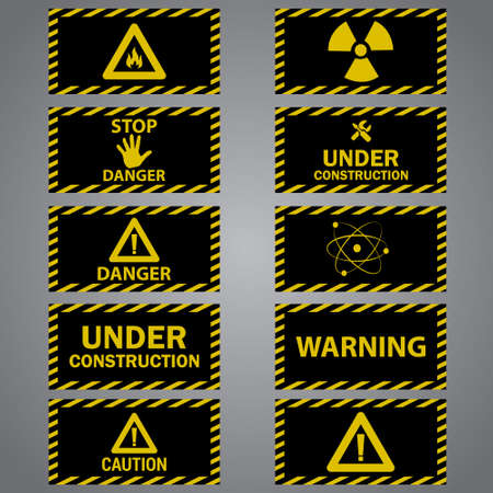 caution: Nine caution danger signs