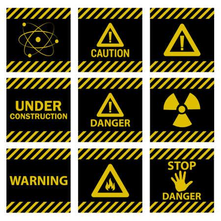 hazard stripes: Ten caution danger signs yellow Illustration