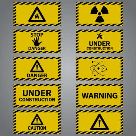 Ten caution danger signs Vettoriali