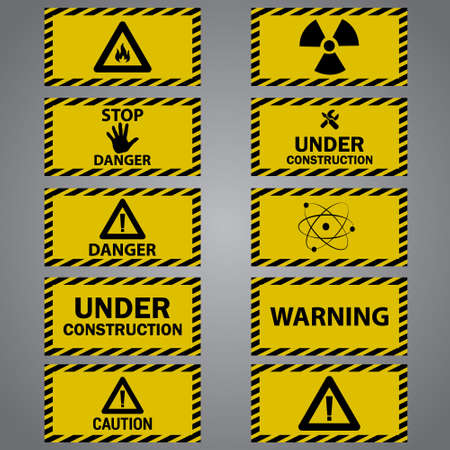 Ten caution danger signs Ilustrace