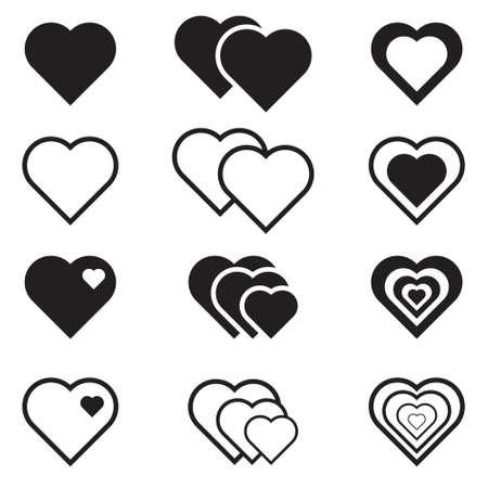 vector hearts: Set of black vector hearts icons