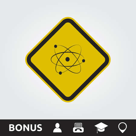 dangerous construction: Atom Square Sign Illustration
