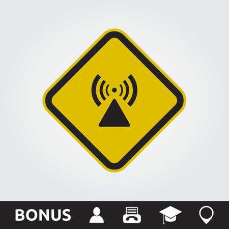 RF Radiation hazard Square Sign Illustration