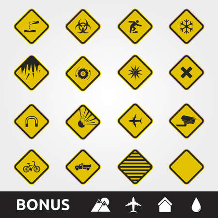 Caution/Warning Yellow Signs Square