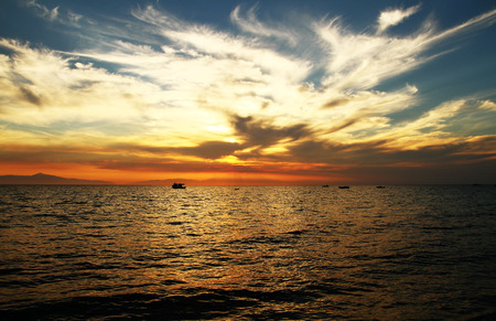 sunset over sea photo