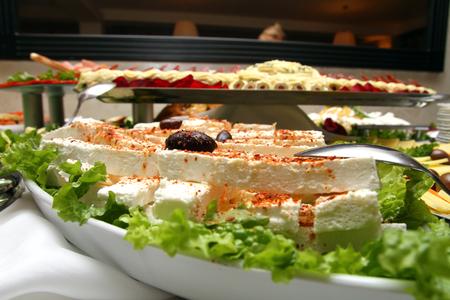 Cattering white cheese Stock Photo