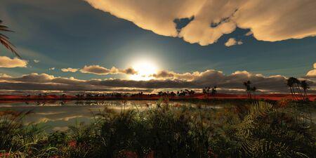 oasis landscape sunset Stock Photo