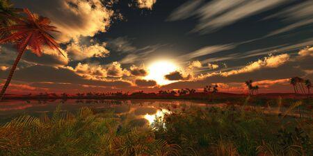 an oasis: oasis landscape sunset Stock Photo