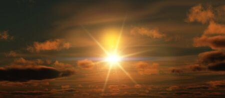 sunset clouds panorama Stock Photo