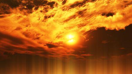 sunset clouds ray sun